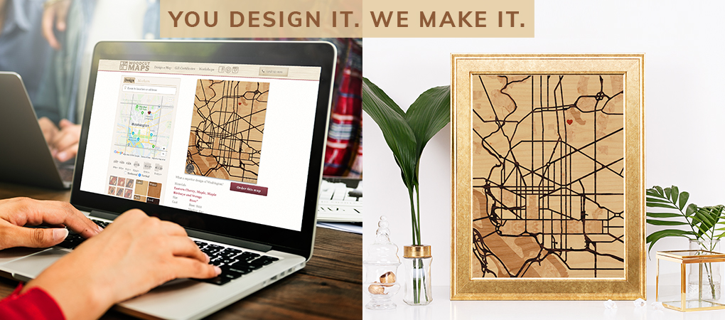 Woodcut Maps: Handcrafted wood-inlay maps, designed by you